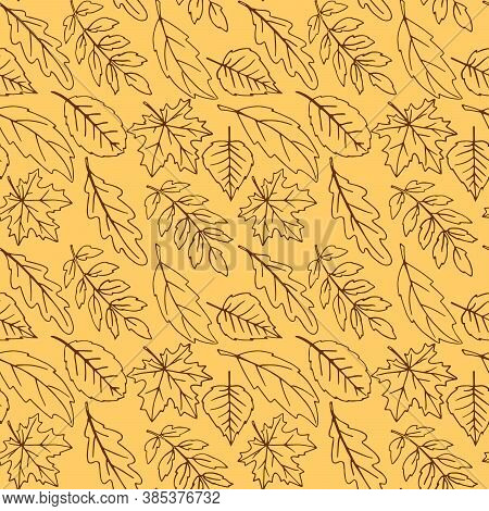 Seamless Pattern Falling Leaves. Vector Autumn Texture Isolated On Orange Background, Hand Drawn In