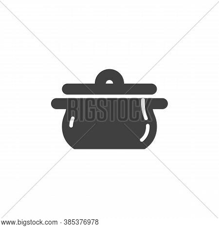 Cooking Pan Vector Icon. Filled Flat Sign For Mobile Concept And Web Design. Saucepan Casserole Glyp