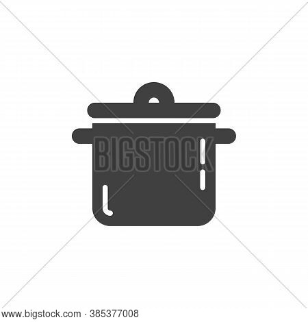 Saucepan Casserole Vector Icon. Filled Flat Sign For Mobile Concept And Web Design. Cooking Pan Glyp