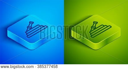 Isometric Line Garden Hose Or Fire Hose Icon Isolated On Blue And Green Background. Spray Gun Icon.