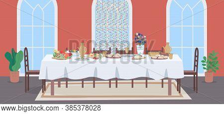 National Muslim Meal Flat Color Vector Illustration. Wedding Celebration At Restaurant. Dinner Table