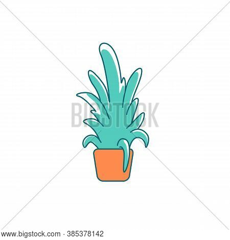 Indoor Plant Flat Color Vector Object. Tropical Greenery For House Decoration. Sprout With Leaves. P