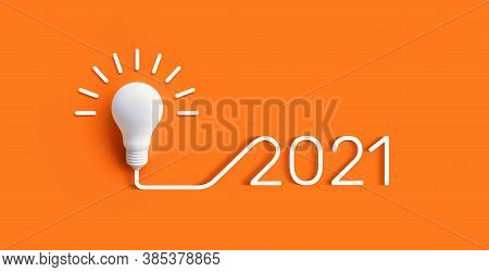 2021 Creativity And Nspiration Ideas Concepts With Lightbulb On Pastel Color Background.business Sol
