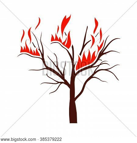 Wildfire Icon. Flat Color Design. Vector Illustration.