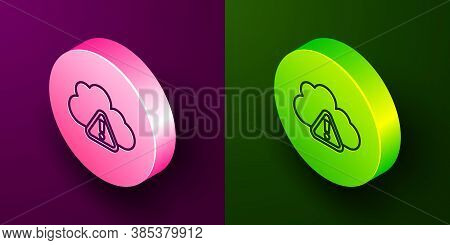 Isometric Line Storm Warning Icon Isolated On Purple And Green Background. Exclamation Mark In Trian