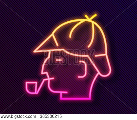 Glowing Neon Line Sherlock Holmes With Smoking Pipe Icon Isolated On Black Background. Detective. Ve
