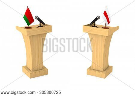Debate in Belarusian republic on white background. Isolated 3D illustration