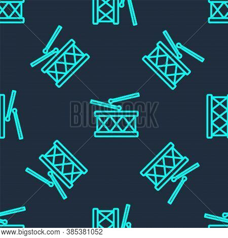 Green Line Musical Instrument Drum And Drum Sticks Icon Isolated Seamless Pattern On Blue Background