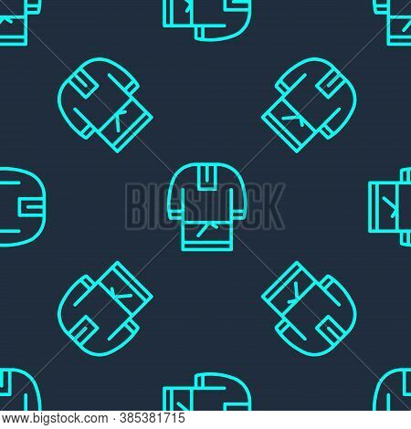 Green Line Kosovorotka Is A Traditional Russian Shirt Icon Isolated Seamless Pattern On Blue Backgro