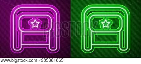 Glowing Neon Line Ushanka Icon Isolated On Purple And Green Background. Russian Fur Winter Hat Ushan