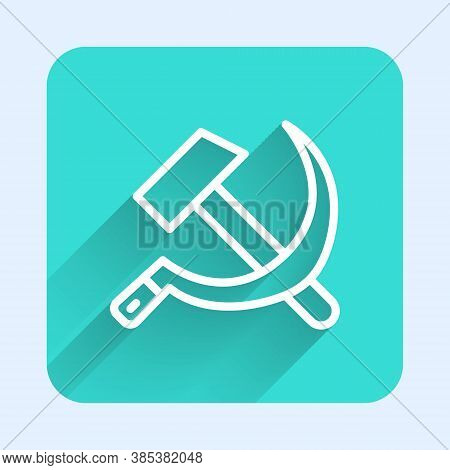 White Line Hammer And Sickle Ussr Icon Isolated With Long Shadow. Symbol Soviet Union. Green Square