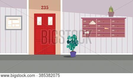 Vector Residential Corridor With Window, Door And Stairs. Interior Of The 1st Floor. Vector Illustra