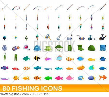 80 Fishing Icons Set. Cartoon Illustration Of 80 Fishing Icons Vector Set Isolated On White Backgrou