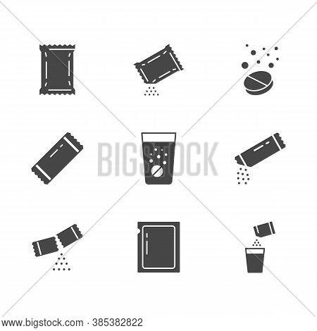 Sachet Glyph Icons. Vector Illustration Included Icon As Sugar Powder Packet, Soluble Pill, Efferves