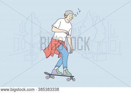 Skateboarding, Sport, Recreation, Hobby Concept. Old Man Ensioner Senior Citizen Cartoon Character R