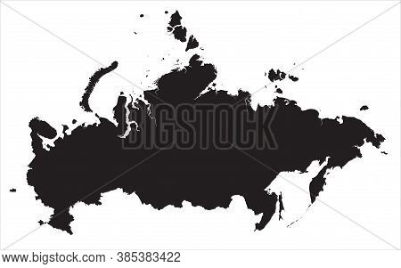 A Very Detailed Map Of Russia With Islands In The Vector. The Silhouette Of Russia On A Transparent