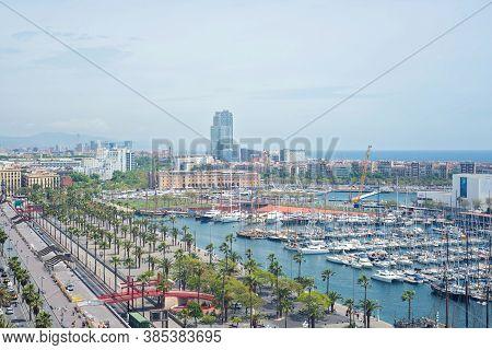 Barcelona, Spain - May 6, 2014: Barcelona From Above. View To The Port Vell.