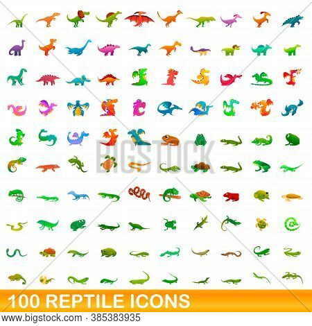 100 Reptile Icons Set. Cartoon Illustration Of 100 Reptile Icons Vector Set Isolated On White Backgr
