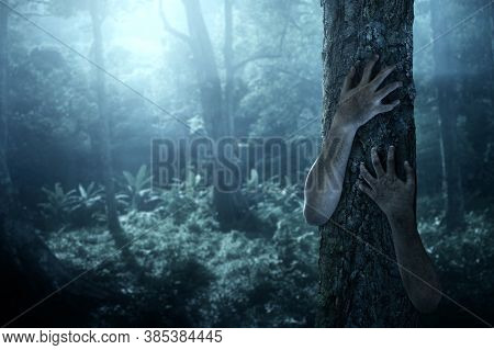 Scary Ghost Hands On Forest, Halloween Theme