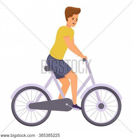 Boy Ride Bike Icon. Cartoon Of Boy Ride Bike Vector Icon For Web Design Isolated On White Background