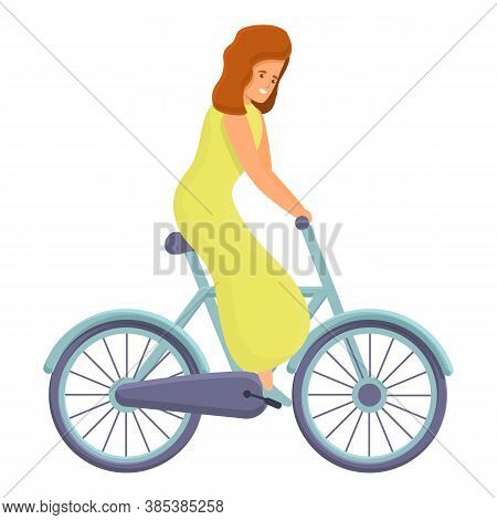 Mother Ride Bike Icon. Cartoon Of Mother Ride Bike Vector Icon For Web Design Isolated On White Back