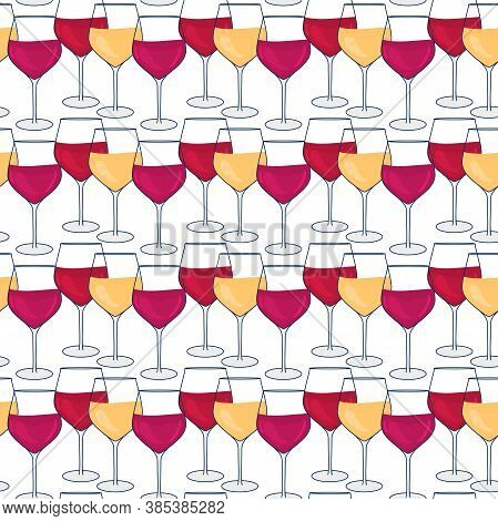 Wine Vector Seamless Pattern. Glass With Red And White. Hand Drawn Wineglass Illustrations Isolated