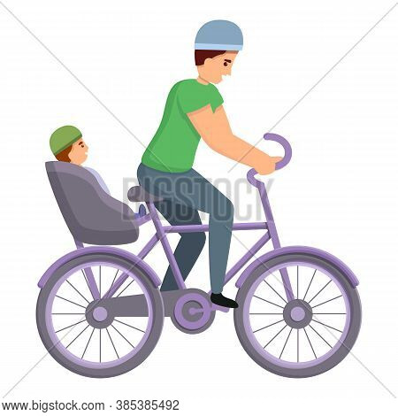 Father With Son Ride Bike Icon. Cartoon Of Father With Son Ride Bike Vector Icon For Web Design Isol