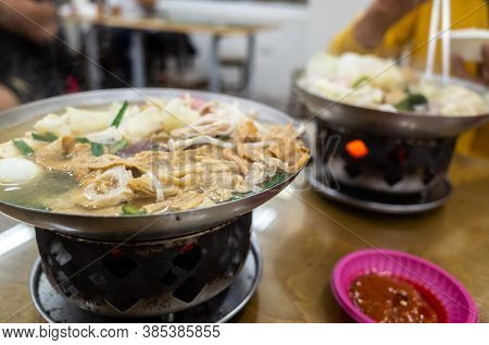 traditional Taiwanese food of Pork Intestine Stinky Hot Pot