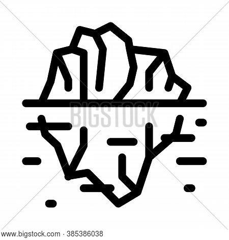 Iceberg In Ocean Icon Vector. Iceberg In Ocean Sign. Isolated Contour Symbol Illustration