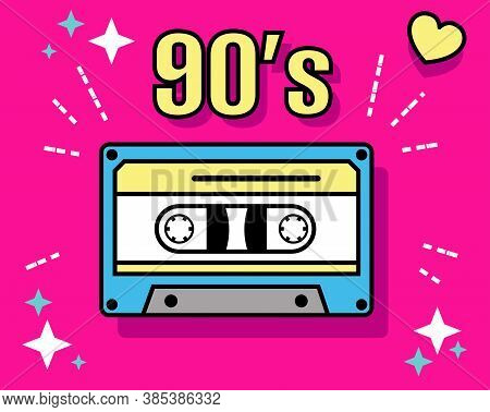 Retro Pop Culture Item From 90s. Retro Element Collections - Soviet Cassette. Ussr Music. Vector Ill