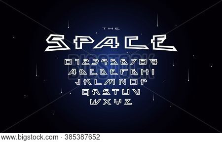 Hollow Sans Serif Font In Futuristic Style. Letters And Numbers For Sci-fi, Military, Cosmic Logo An