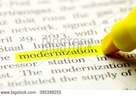 Word Modernization Is Select In Yellow Marker On Paper