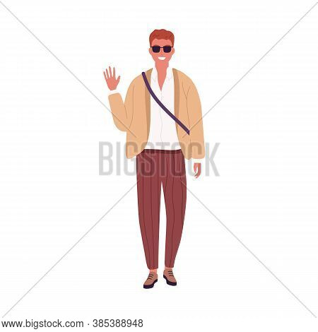 Stylish Guy In Sunglasses Smiling Waving Hand Vector Flat Illustration. Modern Young Businessman Or