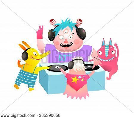 Kids Monsters Dj Party Festival, Playing Vinyl Lessons For Children. Cute Characters At The Discothe
