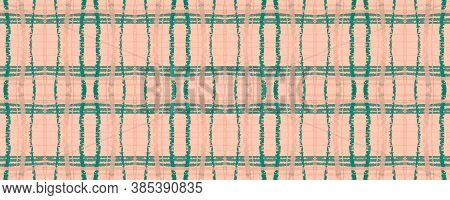 Pink Rustic Plaid. Watercolor Picnic Pattern. Vintage Gingham Tile. Seamless Rustic Plaid. Irish Tab