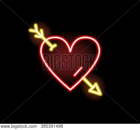 Red Heart Stricken By Arrow Neon Symbol Vector Flat Illustration. Bright Romantic Sign Of Love, Amou