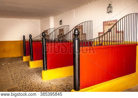 Sevilla, Spain - March Circa, 2020. View Of The Sleeping Box For Bull Inside Of The Plaza De Toros D