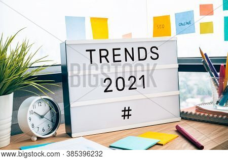 Trends Of 2021 Concepts With Text On Lightbox.business Challenge.creativity To Success