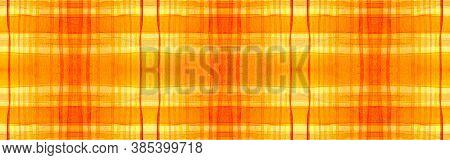 Orange Tartan Background. Watercolour Plaid Material. Wool Traditional Stripes For Tweed Design. Sea