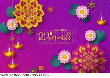 Diwali, Festival Of Lights Holiday Banner With Paper Cut Style Of Indian Rangoli, Diya - Oil Lamp An