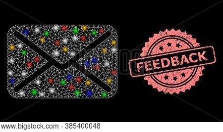 Glare Mesh Net Letter With Light Dots, And Feedback Rubber Rosette Stamp Seal. Illuminated Vector Me