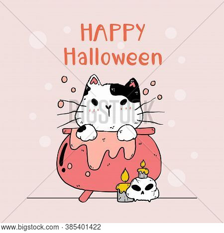 Cute Cat Halloween In Poison Pot With Cat Skull And Candle, Funny Cat Kitty Clip Art With Silhouette