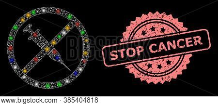 Shiny Mesh Network Stop Vaccine With Light Dots, And Stop Cancer Unclean Rosette Stamp Seal. Illumin