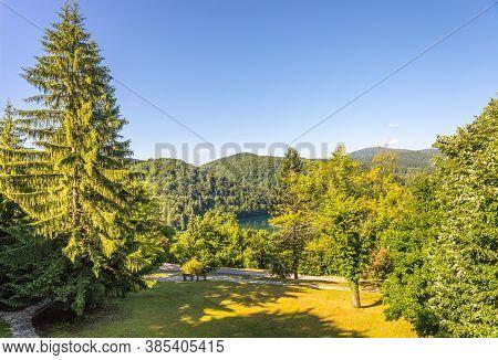View Of The Mountains Of Plitvice. Plitvice Lakes, Croatia.