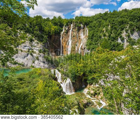 Landscape With Cascading Waterfalls. Great Waterfall On The River Plitvice. Plitvice Lakes, Croatia.