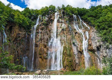 Great Waterfall On The River Plitvice 2. Plitvice Lakes, Croatia.