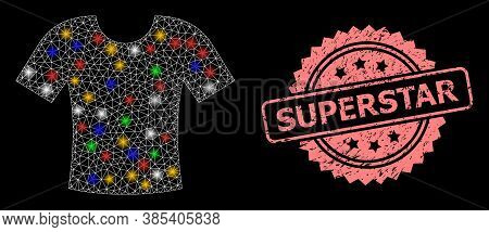 Bright Mesh Network T-shirt With Bright Dots, And Superstar Rubber Rosette Seal Print. Illuminated V