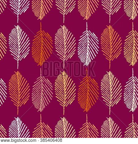 Mono Print Style Leaves Seamless Vector Pattern Background. Vertical Columns Of Painterly Scribble E