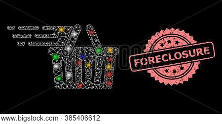 Bright Mesh Network Shopping Basket With Bright Dots, And Foreclosure Textured Rosette Seal. Illumin