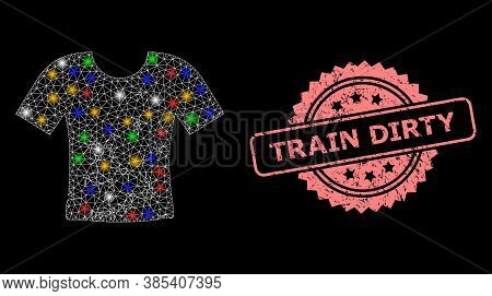 Glare Mesh Network Dirty T-shirt With Glowing Spots, And Train Dirty Unclean Rosette Stamp Seal. Ill